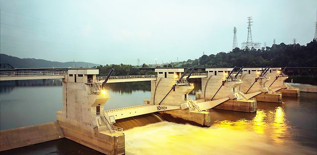 US Army Corps of Engineers New Braddock Dam on the Monongahela River, Pittsburgh PA