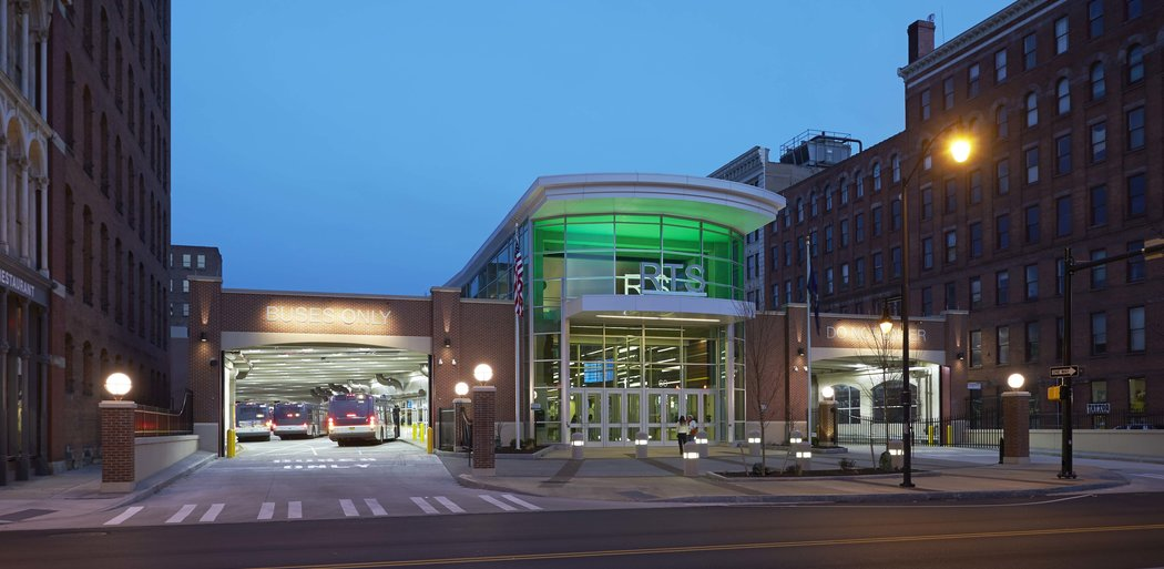 RGRTA Transit Center, Exterior Night, Rochester NY